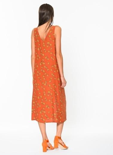 Loves You Düğmeli Crep Viskon Kolsuz Elbise Oranj
